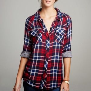 Rails red/white/blue plaid top fall comfy size XS